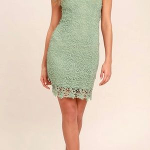 NWT! Backless Sage Green Lace Dress
